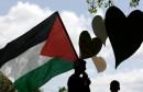A Palestinian protester waves a Palestin